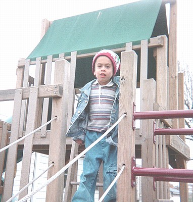 Thomas on playground structure