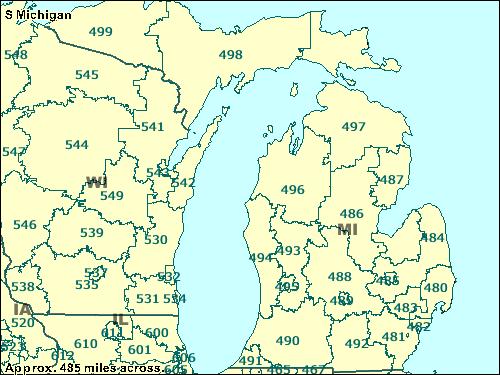 Michigan Zip Codes Map Michigan Map